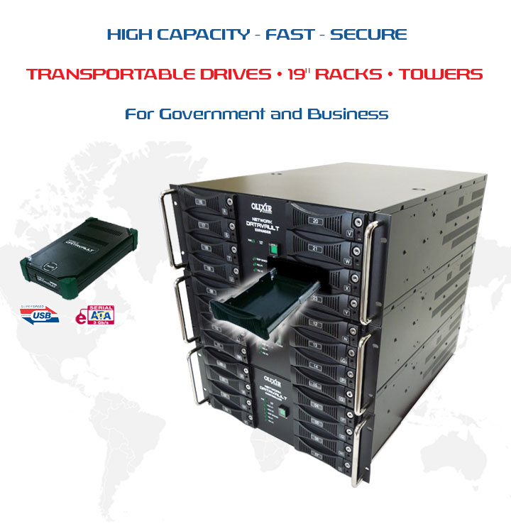 "Banner Image highlighting an Olixir Encrypted Rugged External Hard Drive next to multiple 19"" H Racks"