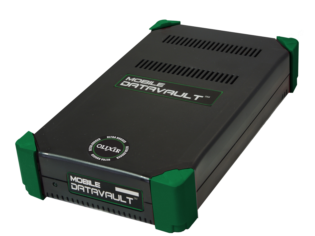 Olixir Encrypted Max Rugged External SSD Hard Drive, diagonal